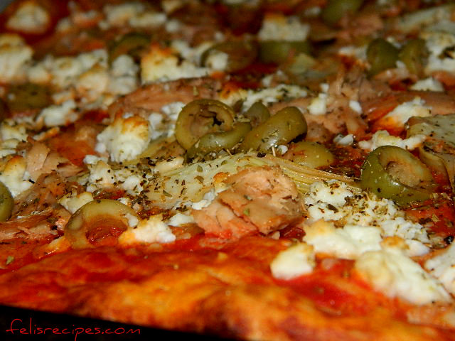 artichoke tuna and feta pizza
